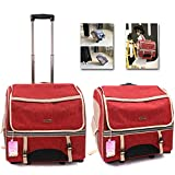 Airline Approved Pet Carrier Backpack with Wheels for Dog/Cat, Multiple Uses Cat/Dog Travel Carrier Bag/Fashion Trolley Roller Bag/Travel Bag, Removable Wheel, for Pet Up to 22 lbs (Red)