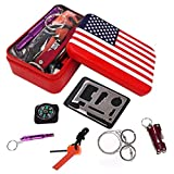 iMustech Survival Gear Kits,11 in 1 Outdoor Emergency SOS Survive Tool for Home Hiking Camping Travel or Adventures - Survival Whistle, Wire Saw, Fire Starter, Compass, Multi Flashlight Clamp ect.