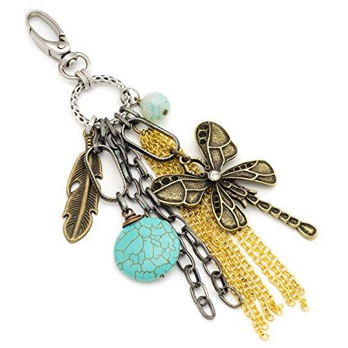 Dragonfly, gemstone and chain tassel bohemian keychain Gemstone Gold Keychain