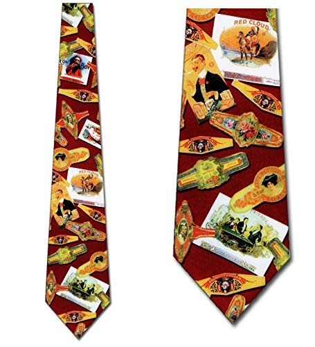 Cigar Ties Cigar labels Neckties Fun tie Mens Necktie ()