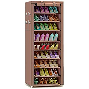 TXT&BAZ 27-Pairs Portable Shoe Rack with Nonwoven Fabric Cover (10-Tiers Brown)