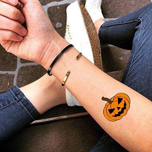 Pumpkin Halloween Temporary Fake Tattoo Sticker (Set of 2) - TOODTATTOO.COM