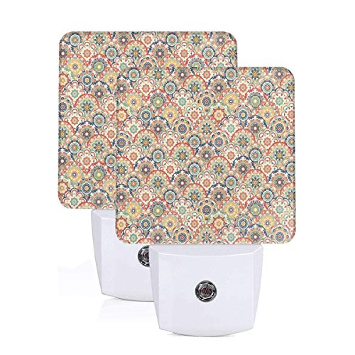 VANMASS Oriental Floral Pattern Plug in Light Sensor Auto On/Off LED Night Light Set of 2