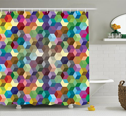 Ambesonne Abstract Home Decor Collection, Color Cubes Mosaic Party Festive Theme Modern Fun Geometric Artwork, Polyester Fabric Bathroom Shower