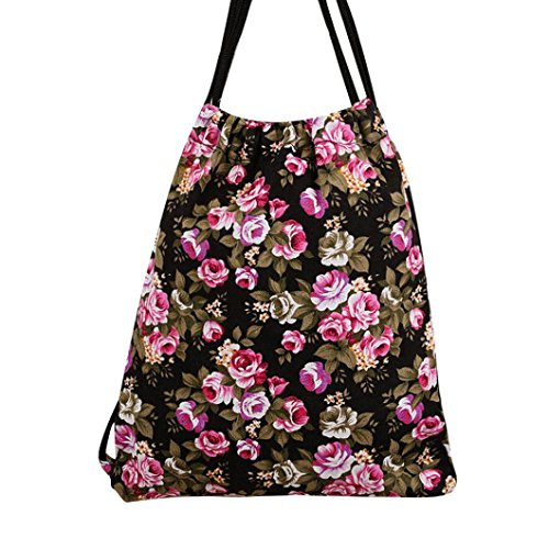 Price comparison product image Outsta Fashion Unisex Drawstring Backpack, Girls Backpacks Printing Bags School Purse Classic Casual Daypack Multicolor Travel (Black)
