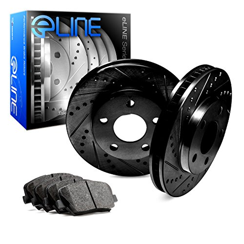 For 1993 Toyota T100 Front eLine Black Drill Slot Brake Rotors+Ceramic Brake Pad