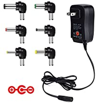 [Negative Version] IKOCO Universal 30W 3V-12V Regulated Multi Voltage Replacement AC to DC Adapter Switching Power Adapter with 5V2A USB Port And Six Adapter Plugs