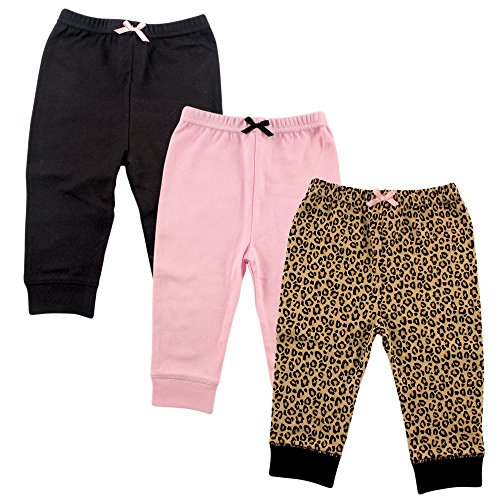 Luvable Friends 3 Pack Tapered Ankle Pants, Leopard, 9-12 Months Baby Girls Infant Legging