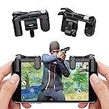teepao Mobile Juego Shooter Controller para pubg/cuchillos Out/Reglas de supervivencia lente llave Joystick Smart Phone Tablet mando de juego ajuste Android iOS 1par, Black (Button Models)