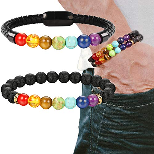 - LOLIAS 7 Chakra Lava Stone Bracelet Healing Braided Leather Bracelets for Men Women Tiger Eye Bead Magnetic Clasp,CK
