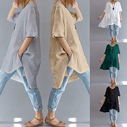 Femme Col Longues Manches Tunique Mode Unie Asymtrique Taille Courtes Elgante Chemise Bouffant breal Et Tops Grande Loisir Lin Couleur Haut Blouse Grau Rond rzT0Pwrq