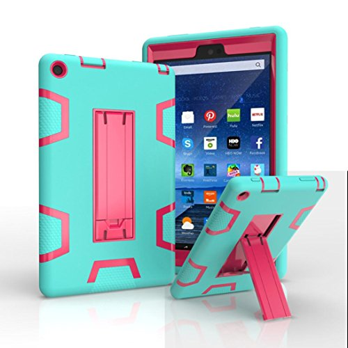 Price comparison product image For Kindle Fire HD 8, AMA(TM) Shockproof Rubber Hard Stand Case Cover for Amazon Kindle Fire HD 8 (6th Generation, 2016) (B)
