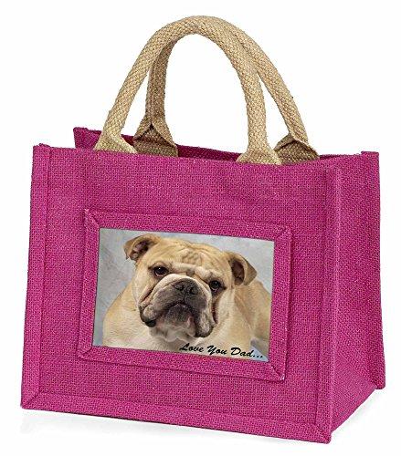 Advanta–Mini Pink Jute Tasche Bulldog Love You Dad Little Mädchen klein Einkaufstasche Weihnachten Geschenk, Jute, pink, 25,5x 21x 2cm