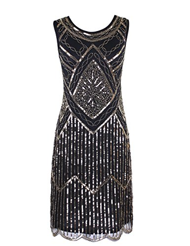 KAYAMIYA Women's 1920S Sequined Fringe Beaded Gatsby Flapper Evening Dress – Small, Glitter Gold