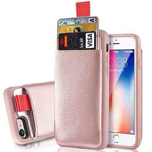 iPhone 8/7 Wallet Case, iPhone 8/7 Card Holder case, LAMEEKU Shockproof Apple 8 Leather case with Hidden Credit Card Holder, Protective Cover for Apple iPhone 8 / iPhone 7 4.7inch Rose Gold