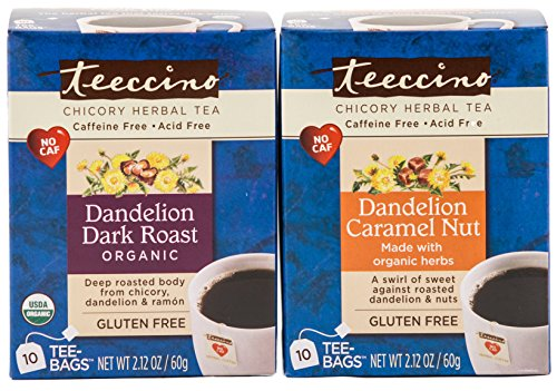 Teeccino Disparity Pack (Dandelion Dark Roast, Dandelion Caramel Nut) Chicory Herbal Tea Bags, Gluten Free, Caffeine Free, Acid Free, 10 Count (Kit of 6)