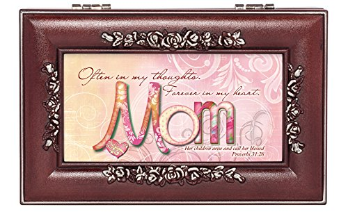 Mom in My Heart Rosewood Finish Jewelry Music Box - Plays You are My Sunshine