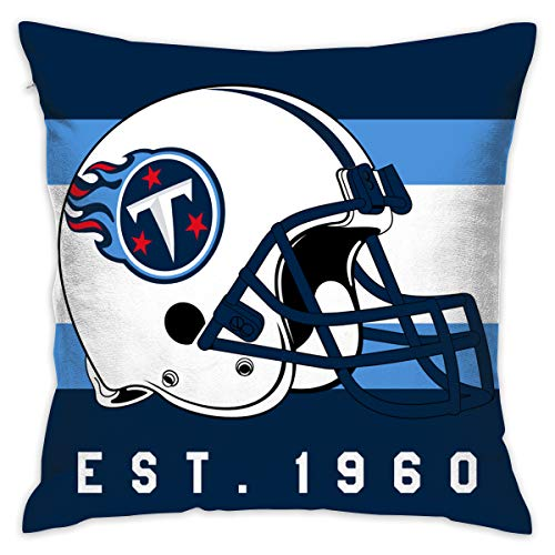 Gdcover Custom Stripe Tennessee Titans Pillow Covers Standard Size Throw Pillow Cases Decorative Cotton Pillowcase Protecter with Zipper - 18x18 Inches