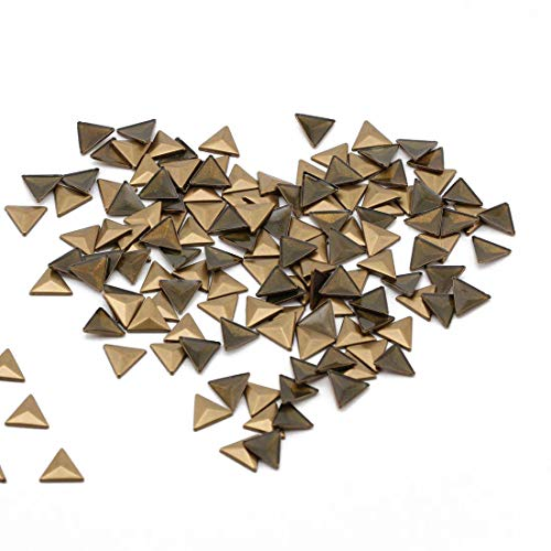 Beadsland Hotfix Iron On, 10x10mm Flat Back Triangle Studs - 1/4 Flatback Glue on Studs 100pcs (Bronze 10x10 Triangle)