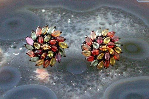 (Natural Songea SAPPHIRE, 14k BLACK RHODIUM Coating 925 Sterling Silver, Chrysanthemum Flower Earrings Fine Jewelry.)