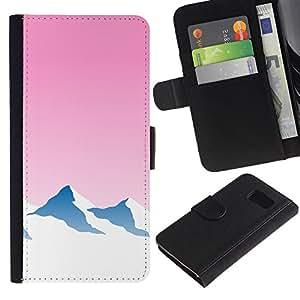 JackGot ( Neon montaña Nevado ) Samsung Galaxy S6 la tarjeta de Crédito Slots PU Funda de cuero Monedero caso cubierta de piel