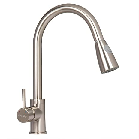 Tridy Kitchen Faucet Copper Single Handle Pull Out Sprayer High Arch ...