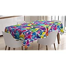 Retro Tablecloth by Ambesonne, Universal Peace Sign Symbol on Colorful Pop Art Style Background Pacifist Activism, Dining Room Kitchen Rectangular Table Cover, 60 W X 84 L Inches, Multicolor