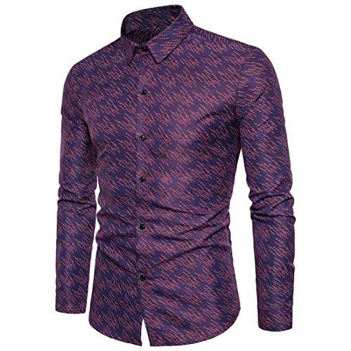 43' Seat (HANYI Mens Personality Slim Fit Long Sleeve Business Casual Dress Shirt Top Blouse (XXL/43'', Purple Fashion))