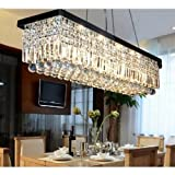 Cheap Siljoy L48″ X W10″ X H10″ Rectangle Clear K9 Crystal Ceiling Light Fixture Black Finish Modern Pendant Lighting Fast Shipping