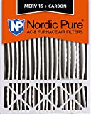 Nordic Pure 20x25x5HM15+C-1 Honeywell Replacement MERV 15 Plus Carbon AC Furnace Air Filters