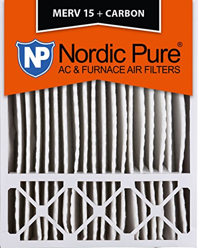 Nordic Pure 20x25x5HM15+C-1 Honeywell Replacement MERV 15 Plus Carbon AC Furnace Air Filters, Qty 1
