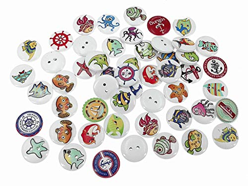 (Kinteshun Wooden Buttons Round 2-Holed Fastener Buttons for Sewing Knitting Handcraft(100pcs,White,Assorted Marine Elements Printing)
