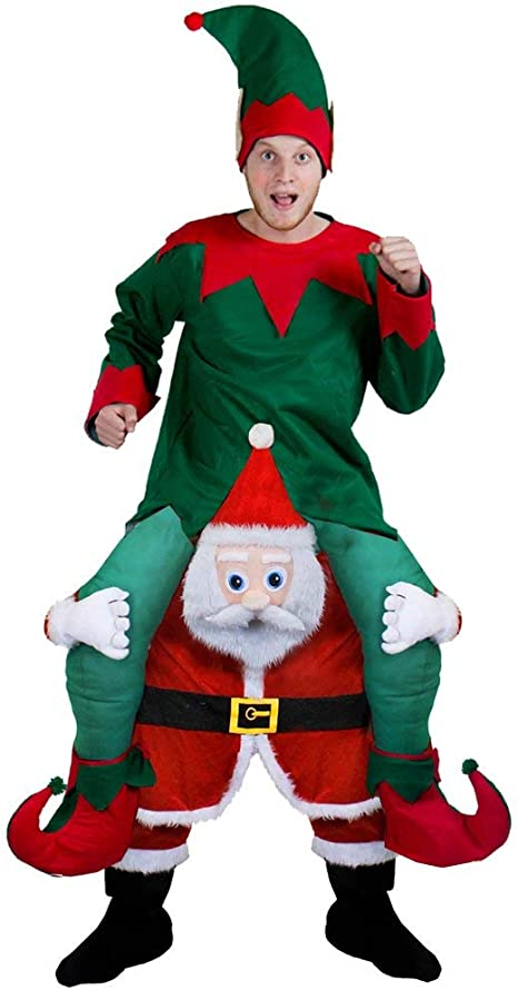 ADULTS REINDEER PICK ME UP SANTA SUIT RIDE RUDOLPH FATHER CHRISTMAS FANCY DRESS