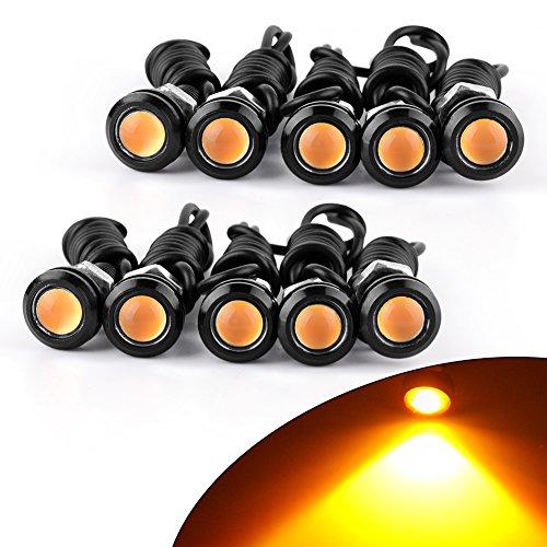 YITAMOTOR 10x 18mm Eagle Eye LED Car Motor Fog DRL Daytime Running Light Reverse Tail Brake Turn Signal Light (Yellow, Black Case) Eagle Eye Driving Lights