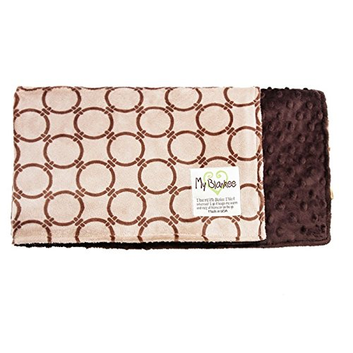 My Blankee Dolce Vita Anelli Minky Biscuit/Cocoa w/Minky Dot Brown Baby Blanket, 29
