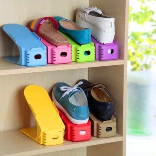 Ajustable de zapatos organizador de ranuras, hulisen plástico ahorro de espacio zapatero Rack, juego de 5 (Azul)