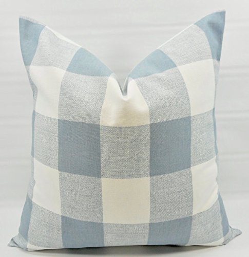 Cashmere Check (Cashmere Blue & white Buffalo check Pillow cover. Sham cover. Select size.)