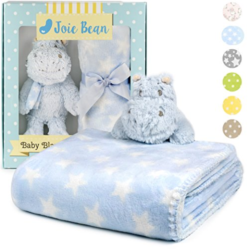 Premium Baby Blanket Set with Stuffed Animal Plush Toy | Soft Fleece Security Throw Blanket for Baby, Newborn, and Toddler | Nursery Bedding and Baby Shower Gift (Baby Blue - Hippo)