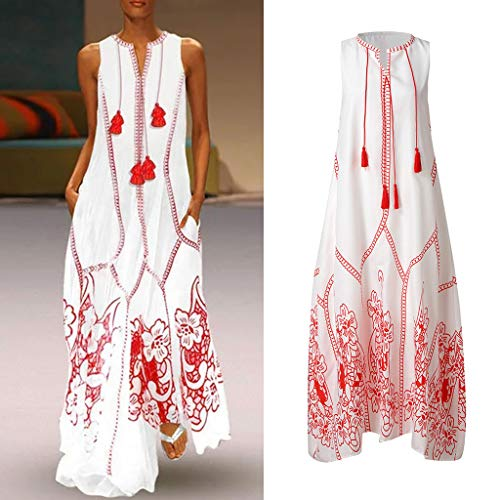 (Larmly Women Vintage Daily Casual Sleeveless Cotton-Blend Printed Floral Summer Maxi Dress Floor Length Natural(Red,XXL))