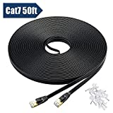 50 feet cat 7 - Cat 7 Ethernet Cable 50 Feet, High Speed 10 Gigabit Flat LAN Network Patch Cable with Cable Clips, Shielded RJ45 Connectors, Faster than Cat6 Cat5e - Black