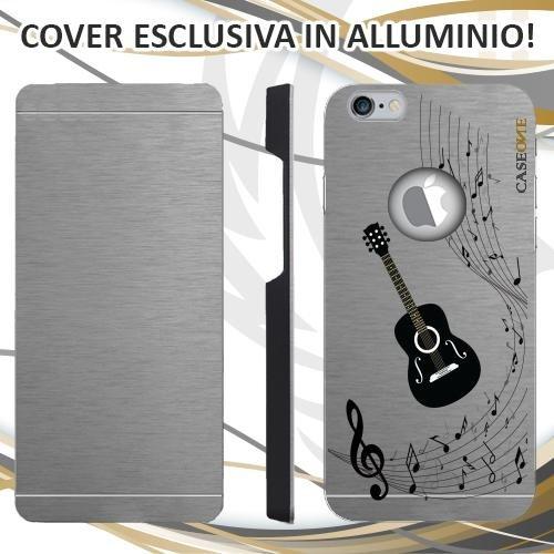 CUSTODIA COVER CASE CHITARRA MUSICA NOTA PER IPHONE 6 ALLUMINIO TRASPARENTE