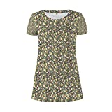 TecBillion Abstract A Flamboyant Round Necked Dress for Women XL