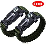 "2PCS PACK 9"" Multifunctional Paracord Bracelet, Sahara Sailor Outdoor Survival Kit W Compass Flint Fire Starter Scraper Whistle for Hiking Camping Emergency More"