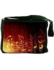 Rikki Knight Gold Music Note Design Messenger Bag - Shoulder Bag - School Bag for School or Work
