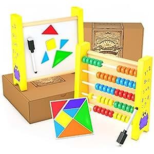 Ábaco de Madera Abacus - Juguete Educacional para Niños Montessori con Kit de Actividades Magnético Gratis: El Mejor Marco Para Contar Números con Cuentas de Madera de Colores Vivos, A Prueba de Niños – La Herramienta Matemática Perfecta para Niños Pequeños