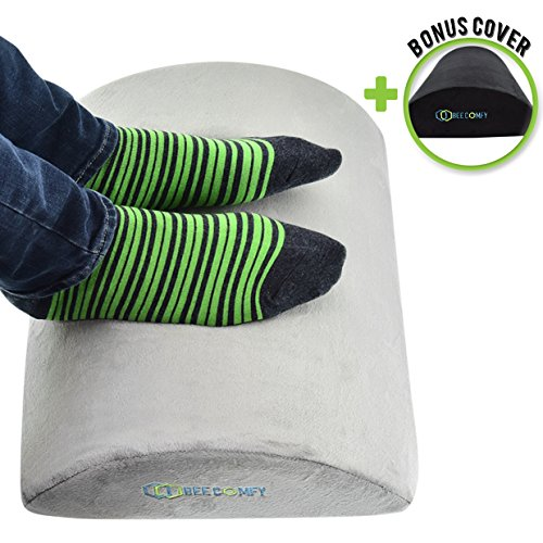 Foot Rest Under Desk - Ergonomic Footrest Cushion at Home & Office - Perfectly Angled Padded Footstool, Non-Slip Surface, High Density Comfort Foam - Bonus Black Cover by Bee ()