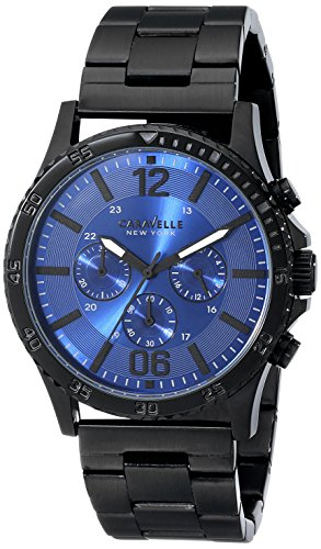 Caravelle New York Men's 45A106 Analog Display Japanese Quartz Black Watch - Caravelle Blue Watch