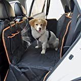 Slowton Dog Seat Cover, Waterproof Pet Car Back Seat Hammock with Rubber Non Slip Backing Bottom, Zippered Slide Flaps, Pouches and Mesh Visual Window in Car Vehicle Trunk for Pets Road Trip (Black)