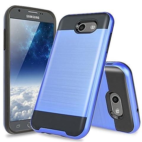For Samsung Galaxy J3 Emerge Case, Galaxy J3 Prime Case, Amp Prime 2 Case, Express Prime 2 Case, TJS Hybrid Shockproof Impact Resist Rugged Case Metallic Brush Finish With Hard Inner Layer (Dark (Dark Layers Volume 2 Volume 1)