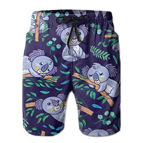 Mens Koalas Forest Swim Trunks Quick Dry Summer Underwear Surf Beach Shorts Elastic Waist with Pocket L